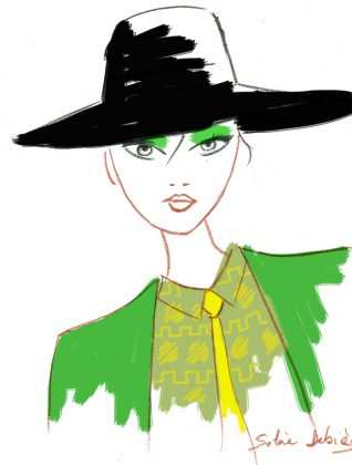 fashion sketch bu illustrator : woman face with a hat