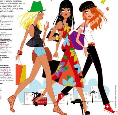 Illustration 3 copines filles pour Gala