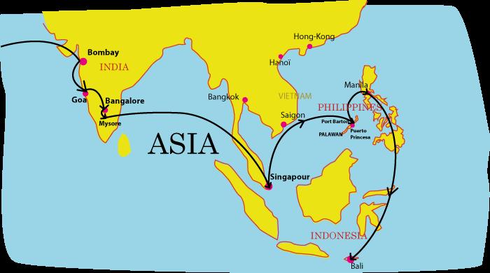 carte voyage en asie de l'illustratrice Solène Debiès