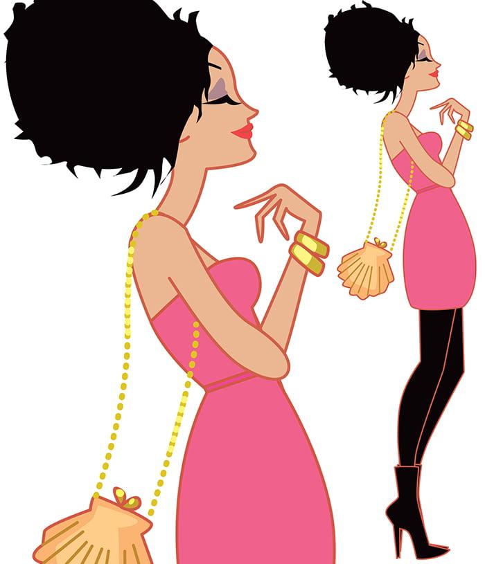 Illustration de femme pour le magazine ELLE India