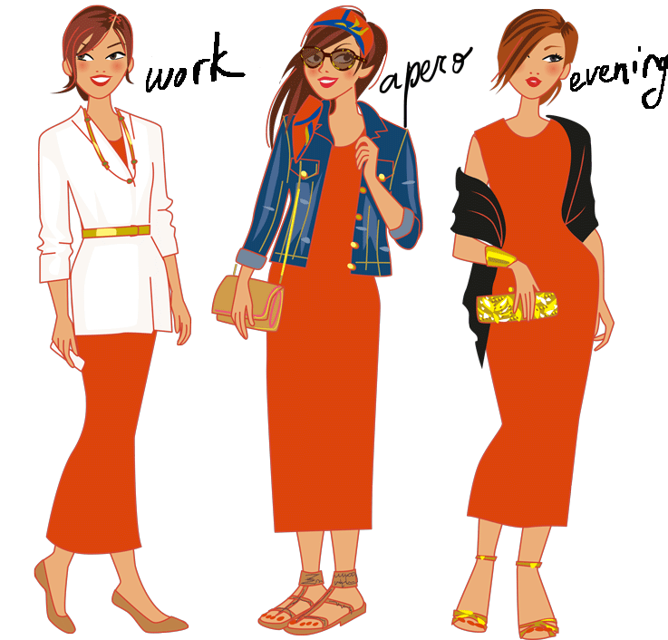 fashion illustration : the maxi dress