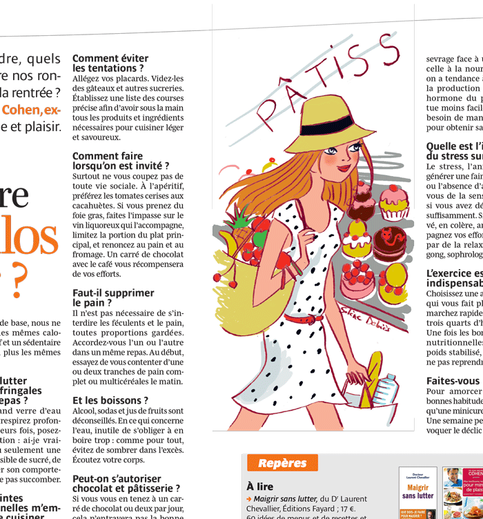 illustration femme avec fruits passe devant devanture de pâtisserie