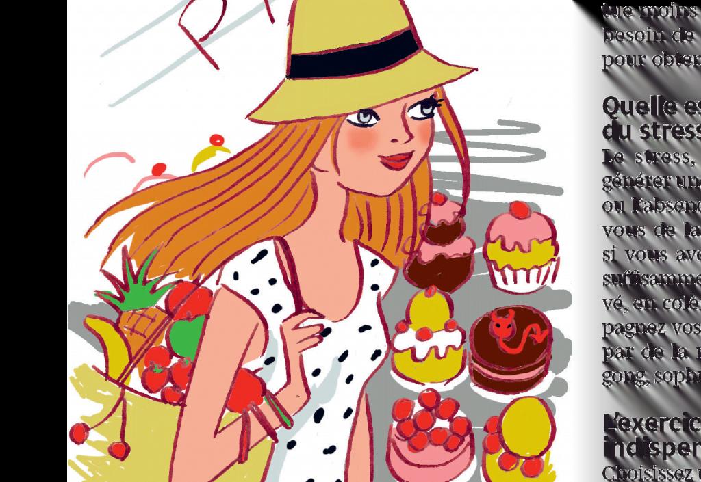 femme avec chapeau et fruits, pâtisserie