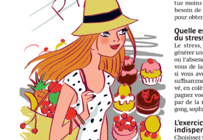 woman with a hat, fruits, and patisserie
