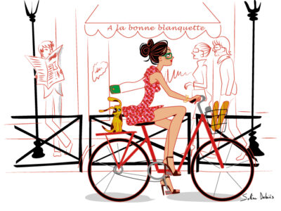 illustration of a french parisian woman on her bike in Paris
