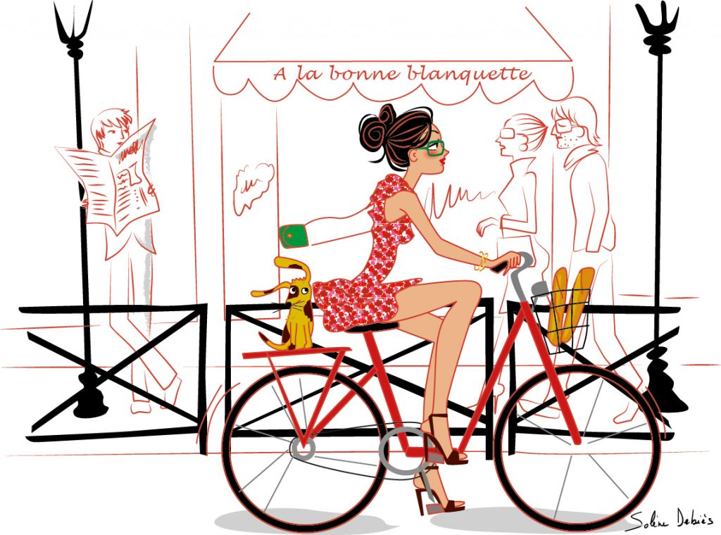 woman illustration bike