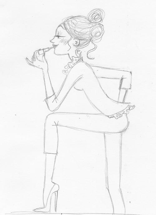 dessin de femme au maquillage