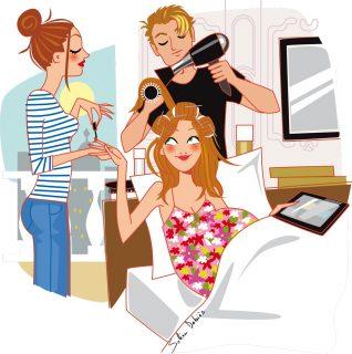 illustration coiffure et cosmétique