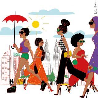 dessin femmes ville Kuala lumpur