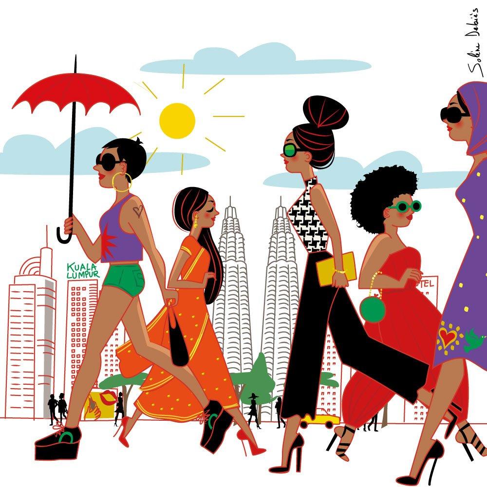 illustrateur ville foule Asie Kuala Lumpur