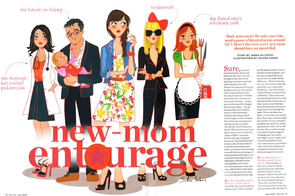 editorial illustrator for magazine: woman and family