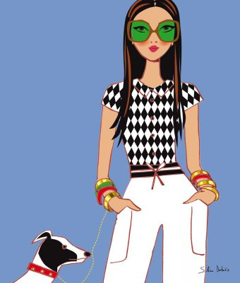 fashion illustration woman dog