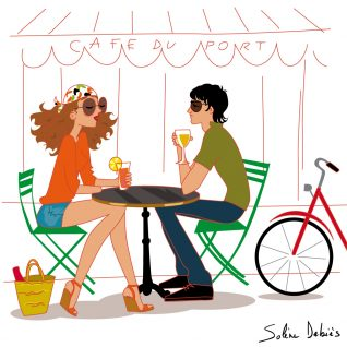 illustration d'un couple au café plage