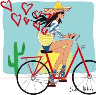 illustration femme en vélo