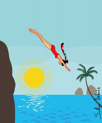 a woman is diving in a tropical sea