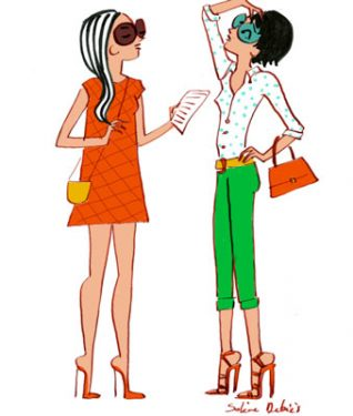 illustration of 2 women