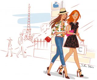 women illustration Paris graphic