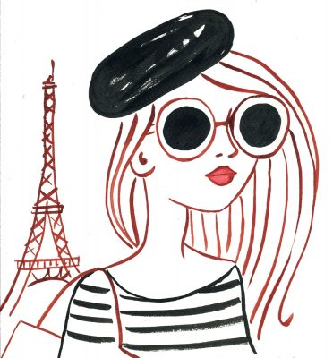woman illustration Paris