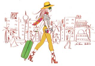 art illustration of a traveling woman