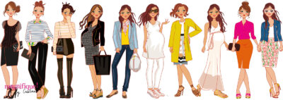 female characters fashion sketches