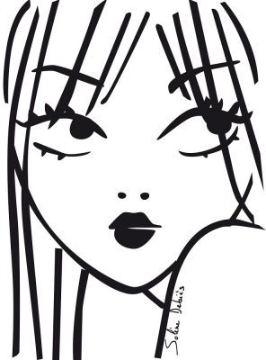 a woman face by beauty illustrator