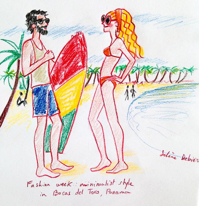 dessin d'humour et de voyage Surfeur