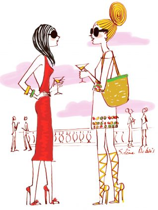 croquis de femme stylisé cocktail