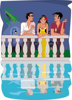 Illustration d'une scène d'amitié, d'amour ou de séduction - au choix!- autour de la piscine. Réalisée pour le magazine Gaël - Belgique.
