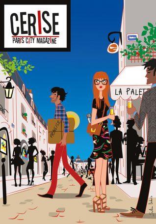 Illustration d'une scène de séduction dans le quartier arts de Saint Germain des Prés à Paris. Réalisée pour la couverture du magazine de culture et de gastronomie Cerise.