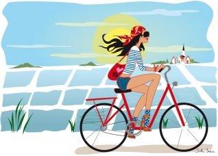 femme en vélo à l'Ile de Ré - par illustratrice parisienne