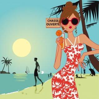 dessin femme en vacances à la plage