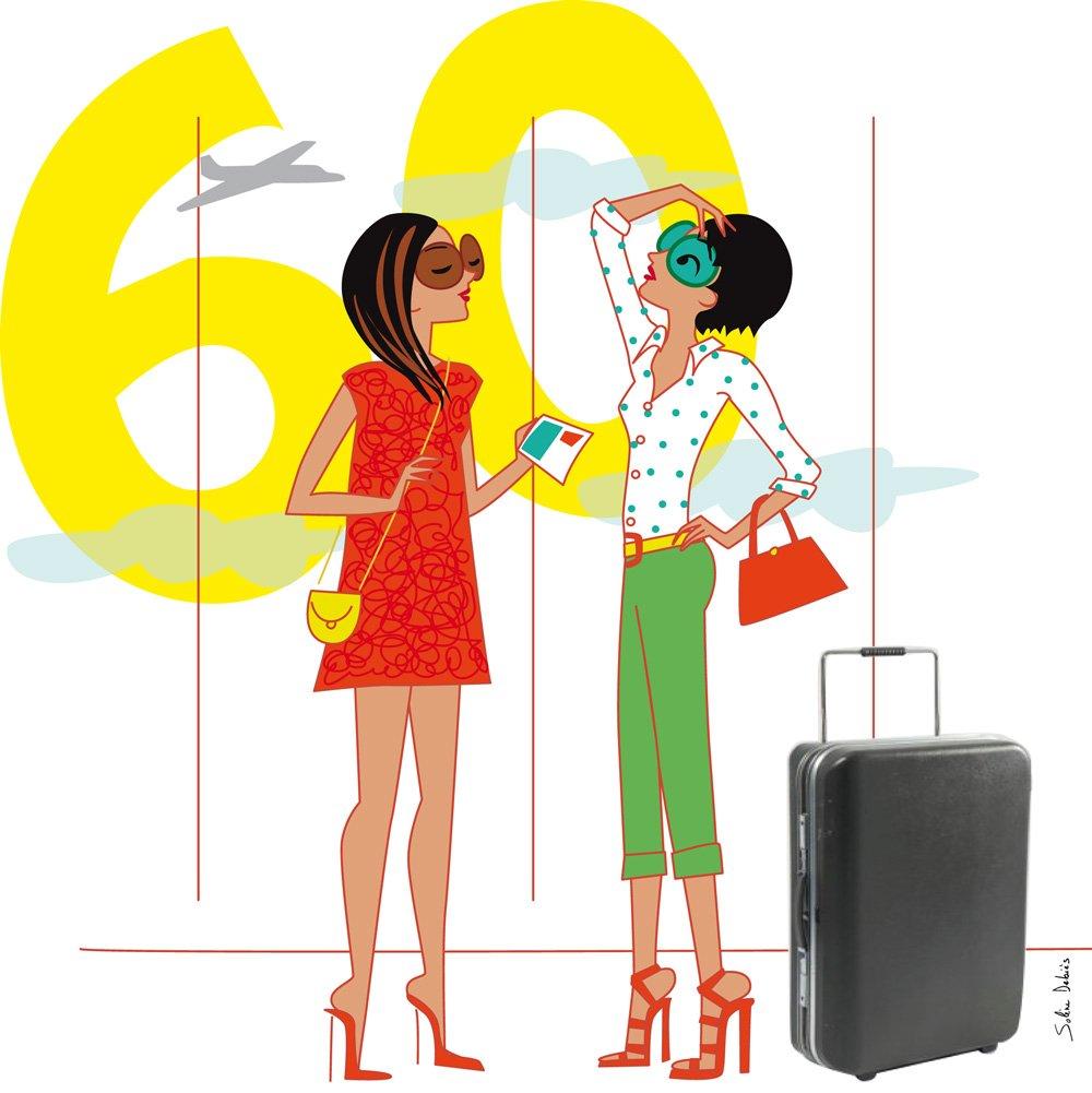 illustrateur personnages - femmes à l'aéroport