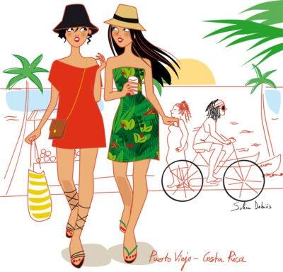 illustration lifestyle de 2 femmes dans un village des caraïbes, puerto viejo, Costa Rica