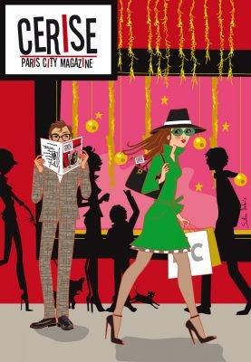 Illustration de noël pour la couverture du magazine parisien Cerise.