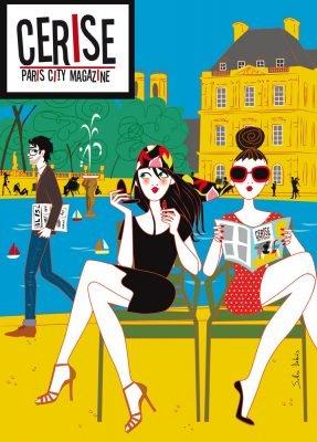 illustration de 2 jeunes femmes au jardin du Luxembourg à Paris pour le magazine Cerise