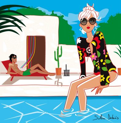 couple au bord de la piscine - illustration lifestyle