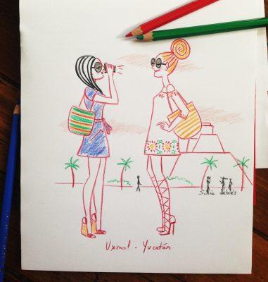illustration de 2 amies en, voyage au mexique, avec petites robes légères à motifs colorés