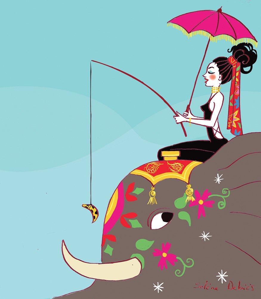 illustration d'humour - personnage sur un éléphant