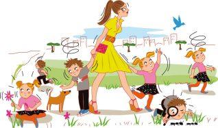 illustration d'une famille avec enfants