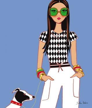 illustration et stylisme pour le livre de la styliste indienne Pernia Qureshi - femme avec lunettes et chien