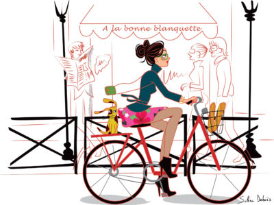 illustrateur Paris : femme en Vélo