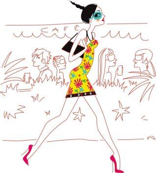 illustrateur Paris - une femme marche dans la rue