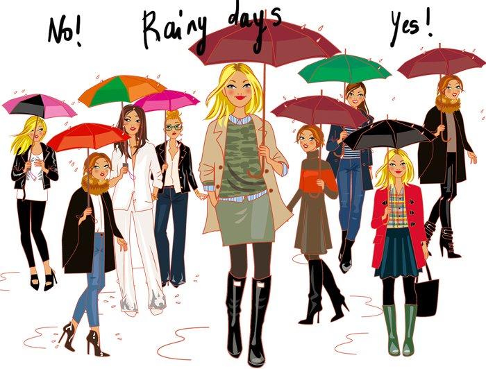 illustration de femmes et parapluies