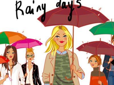 illustrateur Paris: femmes aux parapluies