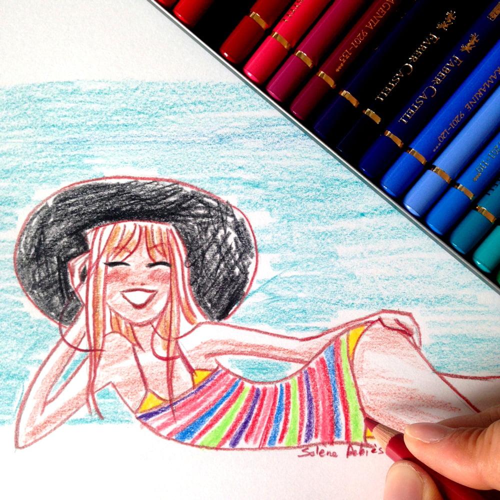Illustration d'une jolie femme au chapeau sur la plage