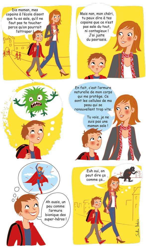 illustrations de bande dessinée pour la société française de dermatologie - journée de la peau.