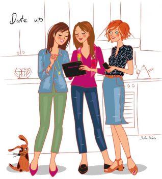 3 women illustration for advertisement : Tupperware
