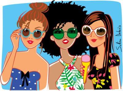 illustration filles en vacances avec glaces