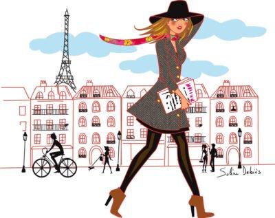 a walking woman in Paris streets