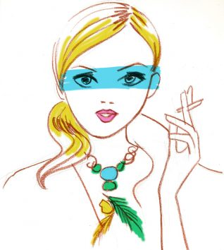 a woman face illustration with make-up and jewelry